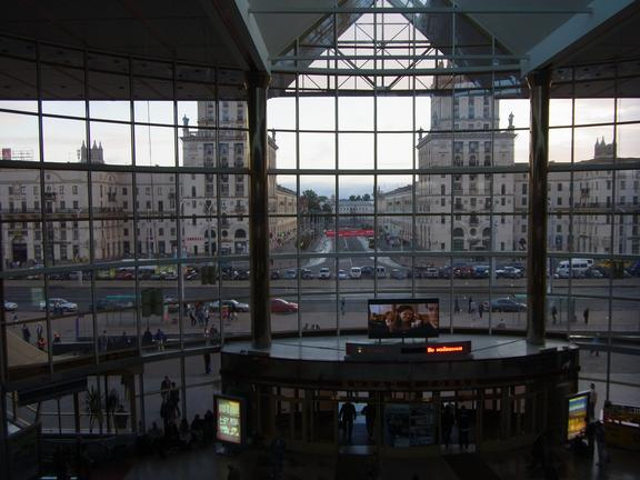 Minsk station, looking out